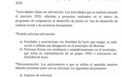 Convocatoria de subvenciones para proyectos de cooperación al desarrollo 2020.