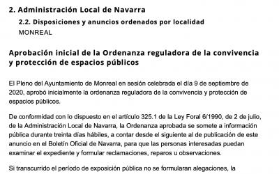 Aprobación inicial de la Ordenanza reguladora de la convivencia y protección de espacios públicos